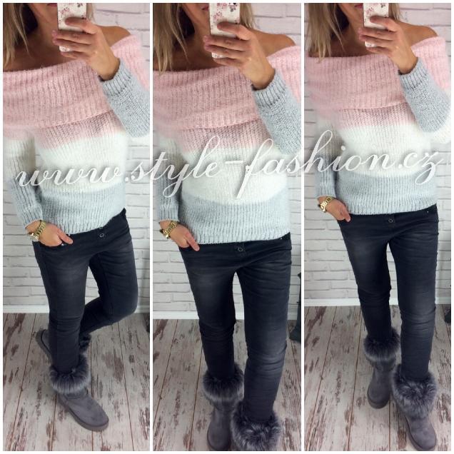 Chlupatý svetr s odhalenými rameny ff723189fa